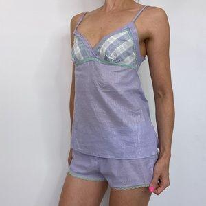 intimissimi Metallic Pinstripe Plaid Lace Pajamas